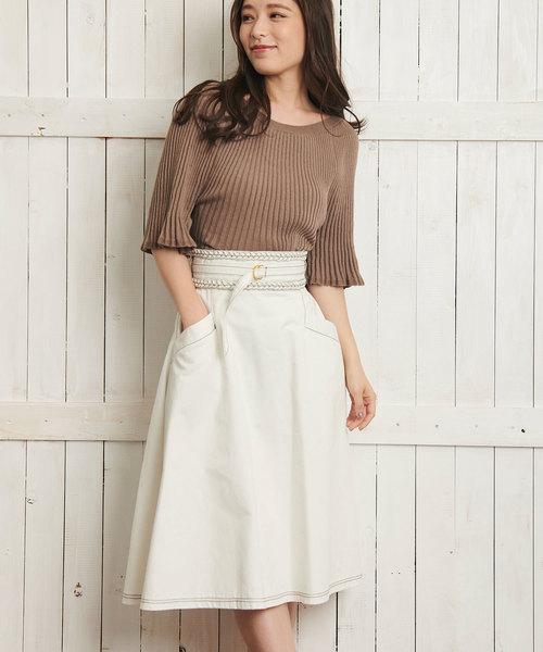 Noela(ノエラ)の「デニムAラインスカート(デニムスカート)」|オフホワイト