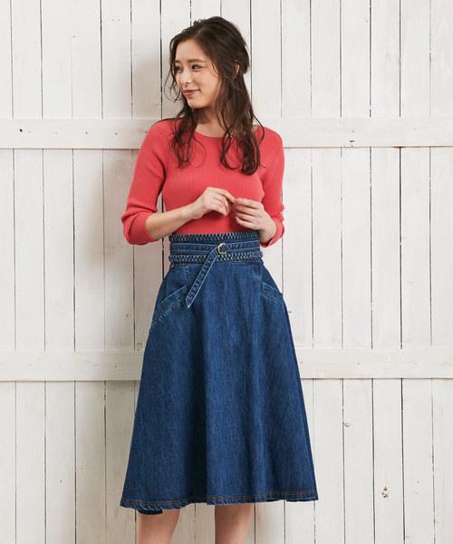 Noela(ノエラ)の「デニムAラインスカート(デニムスカート)」|インディゴブルー