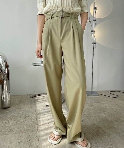 【chuclla】【2021/SS】Buckle belt 2tuck slacks chw1488