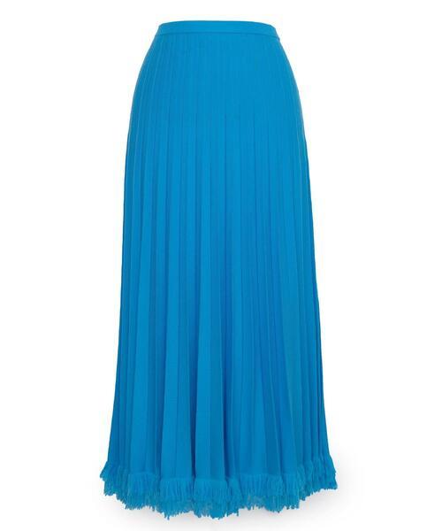 <Drawer(ドゥロワー)> 18G ウールプリーツ裾フリンジスカート
