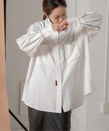 パイピングデザインシャツオフホワイト