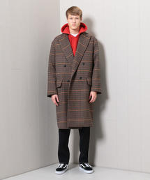<H>CHECK DOUBLE POLO COAT/コート