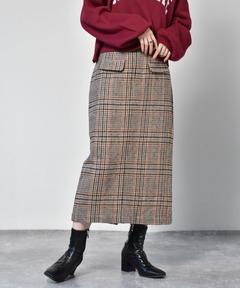 チェック柄タイトスカート