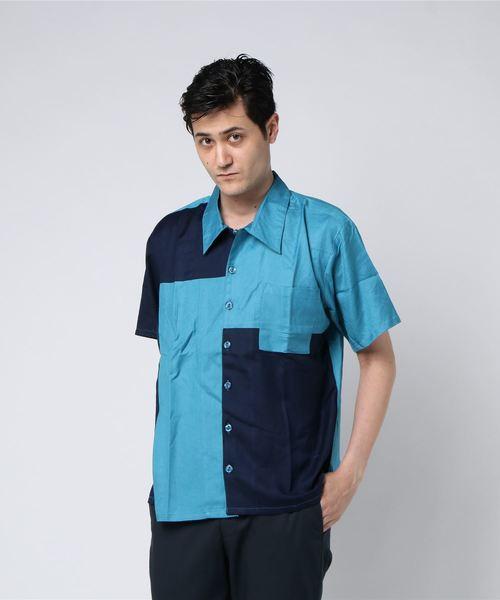 【チャイハネ】カラーブロックMEN'S開襟シャツ