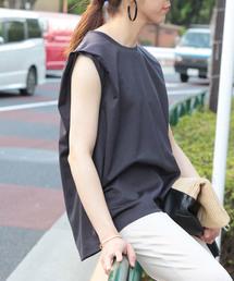 ROPE' mademoiselle(ロペマドモアゼル)のリヨセルノースリーブTシャツ(Tシャツ/カットソー)