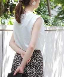 ROPE' mademoiselle(ロペマドモアゼル)の【洗える】リヨセルノースリーブTシャツ(Tシャツ/カットソー)
