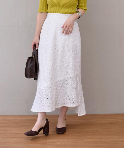 サークルレース刺繍アシメスリットフリルロング丈スカート