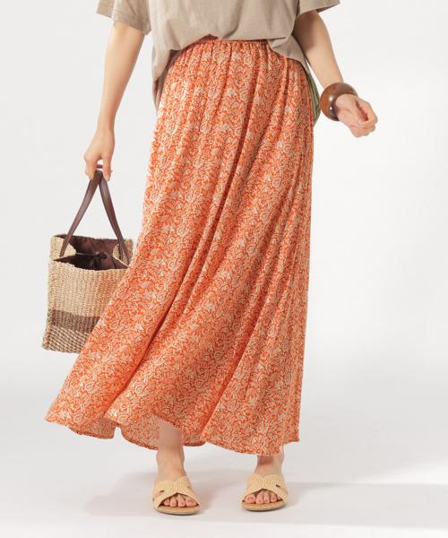 BAYFLOW(ベイフロー)の「アソートガラマキシSK(スカート)」|オレンジ