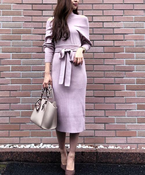 Layered style Knit OP/レイヤードスタイルニットワンピース