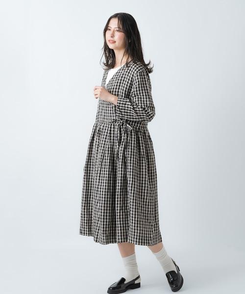 【ubasoku/ウバソク】ウエストギャザー カシュクール 2way ワンピース ub-0106 BNT