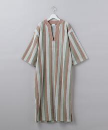 < 6(ROKU)>COTTON PILE STRIPE DRESS/ワンピース