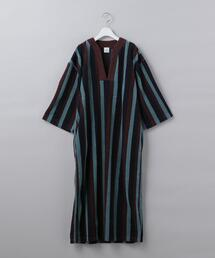 <6(ROKU)>COTTON PILE STRIPE DRESS/ワンピース