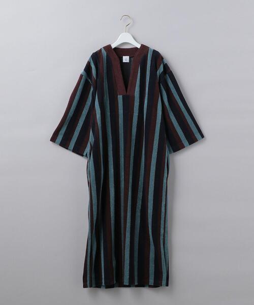 < 6(ROKU)>COTTON PILE STRIPE DRESS/ワンピース:<br> ◆
