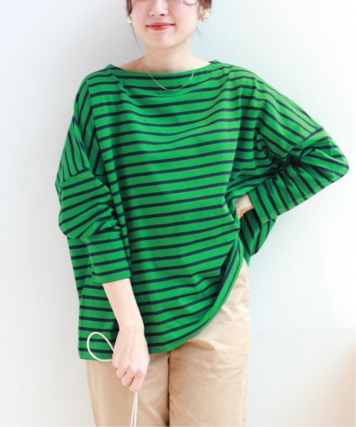IENA(イエナ)の「【TRADITIONAL WEATHERWEAR】 IENA 別注 BIG MARINE BOATNECK プルオーバー◆(Tシャツ/カットソー)」|グリーン