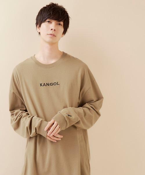 ▽WEB限定 MONO-MART×KANGOL カンゴール ビッグシルエットプリント長袖Tee 袖モチーフ刺繍