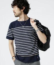 nano・universe(ナノユニバース)の米綿パネルボーダーバスクシャツS/S(Tシャツ/カットソー)