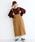 merlot(メルロー)の「コーデュロイ配色ステッチワークサロペットスカート3270(サロペット/オーバーオール)」|ベージュ