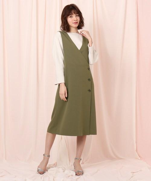 couture brooch(クチュールブローチ)の「ツイルジャンパースカート(スカート)」|オリーブ