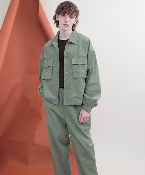【セットアップ】ビッグシルエット オーバーサイズ スモーク コーデュロイ CPOブルゾン&タックワイドテーパードパンツ EMMA CLOTHES 2020-2021WINTER