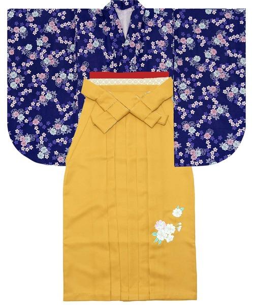 袴セット 卒業式 花総柄 4点セット(二尺袖着物、袴、袴下帯、襦袢)