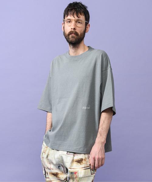 キャプラブレンド コットン天竺/ハーフスリーブ 刺繍ロゴ Tシャツ