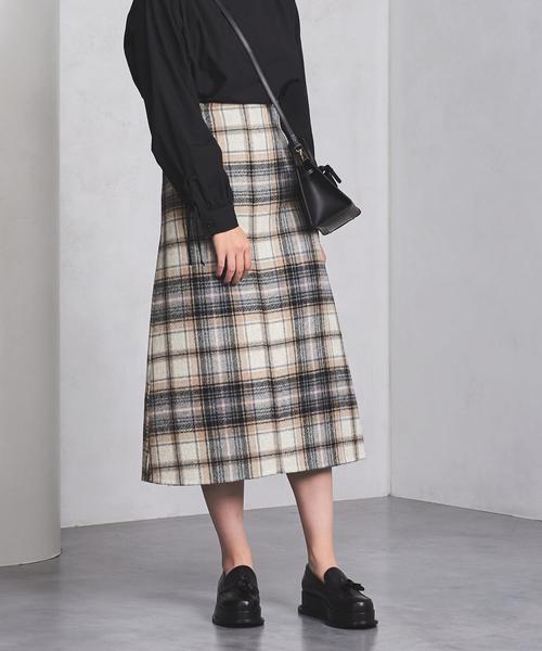 <beautiful people(ビューティフルピープル)>チェック Aラインスカート ◆