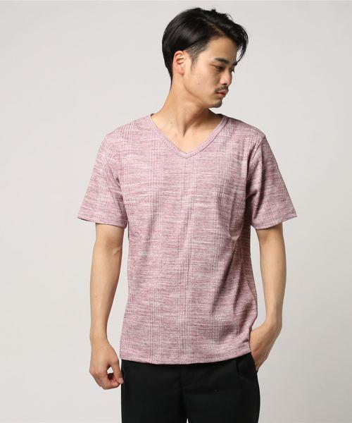 ランダムテレコ/VネックTシャツ(抗菌防臭加工)