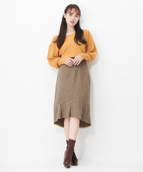 スワロウテイルチェックタイトスカート