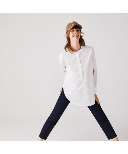 LACOSTE(ラコステ)の「マオカラープルオーバーチュニックシャツ(シャツ/ブラウス)」 ホワイト