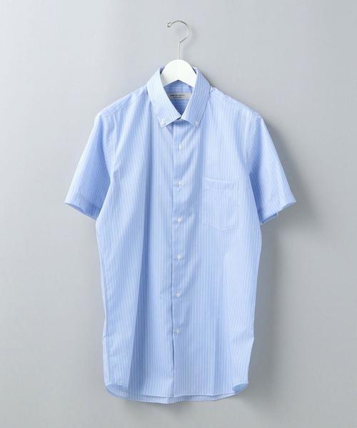 【WORK TRIP OUTFITS】WTO CO/PE ストライプ ボタンダウン 半袖シャツ<スリムフィット>
