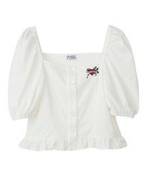 HEART刺繍 ショートブラウスホワイト