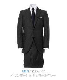 ZOZO(ゾゾ)の2Bスーツ(カスタムオーダー)/ヘリンボーン チャコールグレー[MEN](セットアップ)