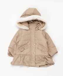 petit main(プティマイン)の裾フリル中綿ロングコート(ブルゾン)