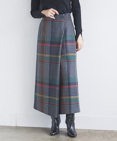 GALLARDAGALANTE(ガリャルダガランテ)の「チェックラップスカート(スカート)」|グレー