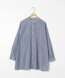 シアーギンガムロングシャツ(バンドカラーシャツ)
