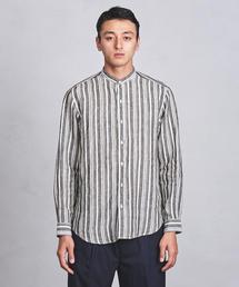 UASB リネン マルチストライプ バンドカラーシャツ ◆