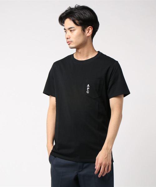 A.P.C.(アーペーセー)の「T-SHIRTS POCKET EMB NEW LOGO 19A JPS(Tシャツ/カットソー)」|ブラック