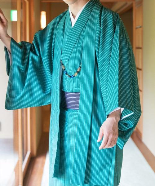 着物セット 洗える 縞柄 和服 袷 2点セット(袷着物、羽織)