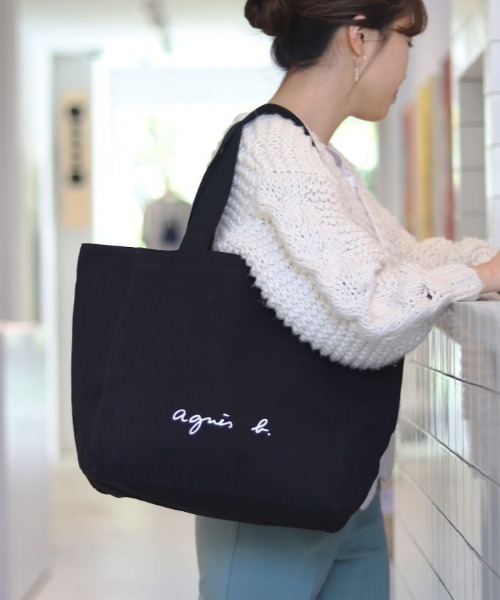 agnes b.(アニエスベー)の「【WEB限定】GO03-01  ロゴトートバッグ(トートバッグ)」|ブラック