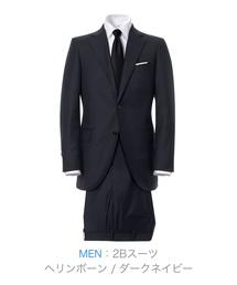 ZOZO(ゾゾ)の2Bスーツ(カスタムオーダー)/ヘリンボーン ダークネイビー[MEN](セットアップ)