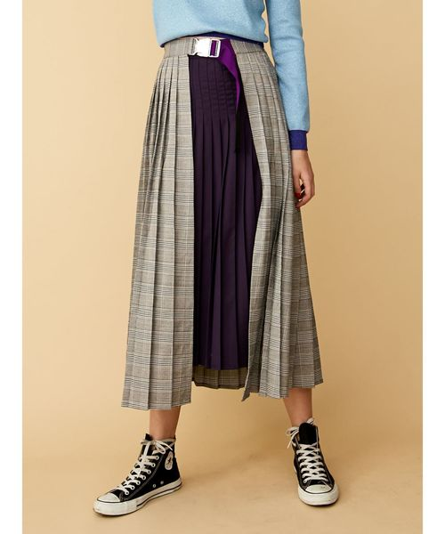 jouetie(ジュエティ)の「プリーツアシメスカート/ロングスカート(スカート)」 グレー