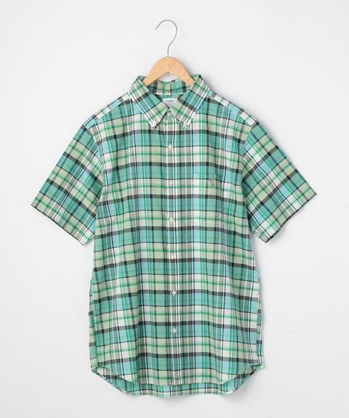 インディアコットンチェックボタンダウンシャツ