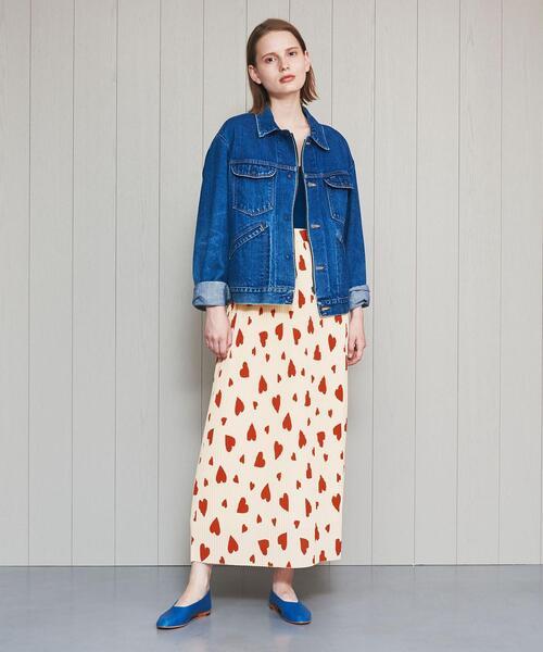 <H>HEART PRINT PLEATED SKIRT/スカート