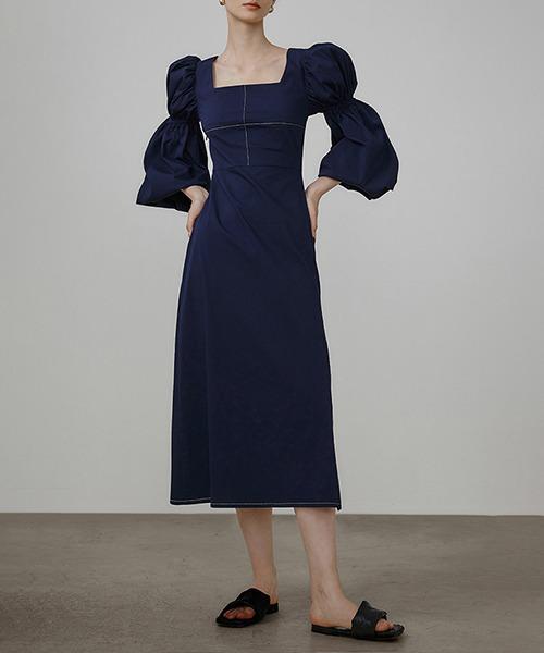 【UNSPOKEN】Lantern sleeve square neck dress UQ21L006