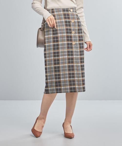 【WORK TRIP OUTFITS】BC ボタン チェック スカート