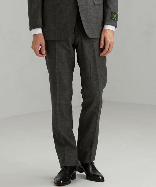 KANGAROO ISLAND WOOL 撚杢千鳥 スリム ノープリーツ スラックス スーツパンツ