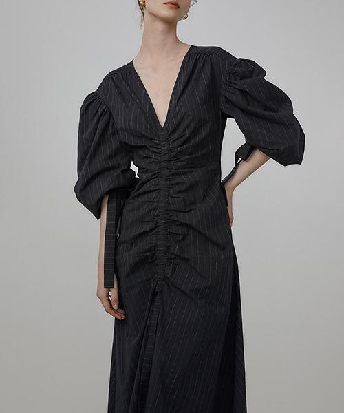 【UNSPOKEN】Vneck drawstring design slim dress UQ21L007