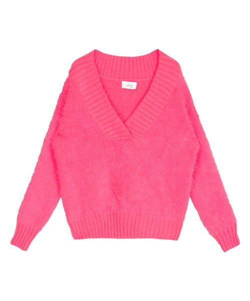 色っぽVネックモヘア調ニットチュニック・セーター/16338