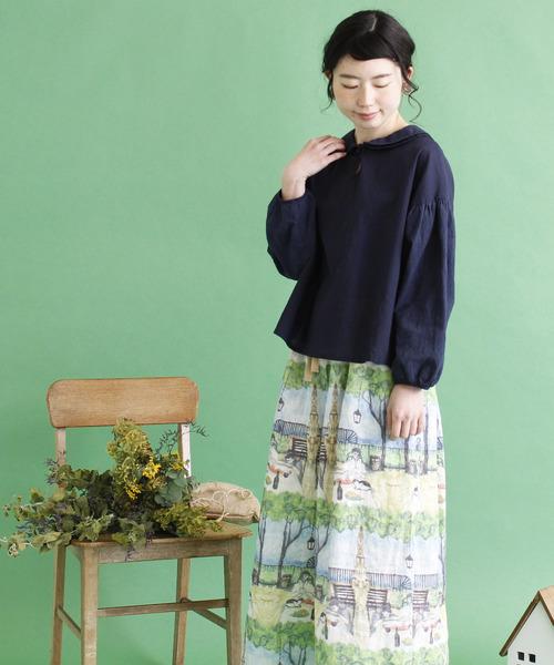 cdc 60sローン製品染め 森の刺繍袖ブラウス