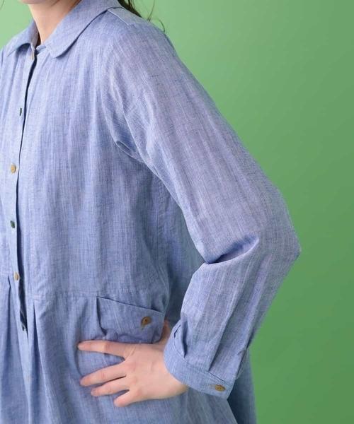 シャンブレータックデザインシャツワンピース